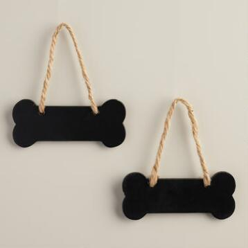 Mini Dog Bone Chalkboards, Set of 2